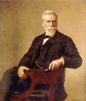Ernest Solvay. Colour painting (Custom)